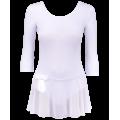 Купальник гимнастический AA-181, рукав 3/4, юбка сетка, хлопок, белый (28-34) Amely