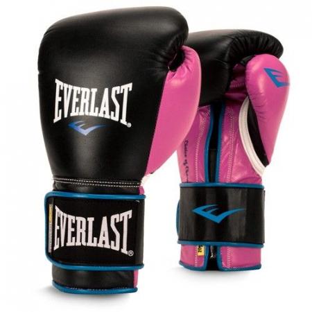 Перчатки тренировочные Everlast  Powerlock PU (Черный/Розовый)