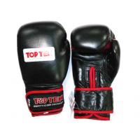 Перчатки боксерские TOP TEN (кожа с сеткой черные) 2015-49