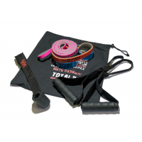 Набор из трех двуцветных эспандеров с аксессуарами в сумке OriginalFitTools