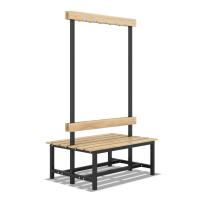 Скамейка с вешалкой для раздевалки двухсторонняя разборная (120 см)